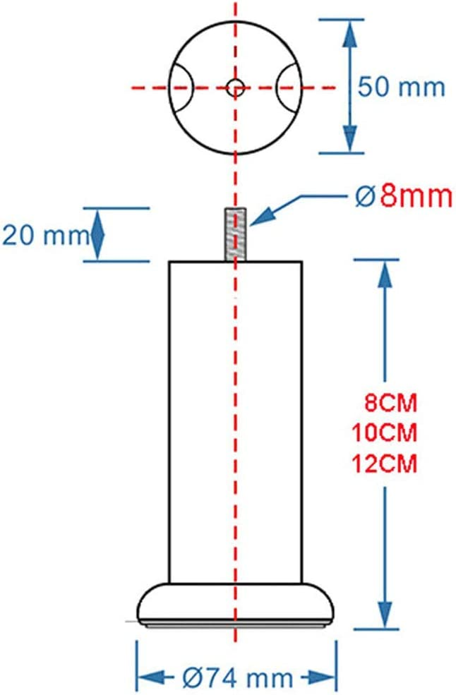 Height 8 cm 8mm HAIYANG Patas para Muebles Patas De Sof/á De Metal Patas De Cama De Gabinete Patas De Soporte De Muebles Patas De Mesa De Caf/é 8M