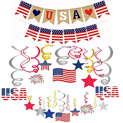 USA Banner Burlap Bunting Hanging Swirl 4th of July Decorations American Independence Day Celebration Red White and Blue Theme Party Supplies]()