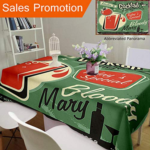 Unique Design Cotton and Linen Blend Tablecloth 1950S Decor Nostalgic Poster Bar Art for Todays Special The Famous Cocktail Bloody Marry and VoCustom Tablecovers for Rectangle Tables, 60 x 40 Inches -