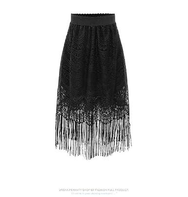 Falda De Las Señoras Vestido De La Único De Encaje Borla Negra De ...