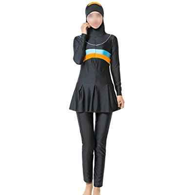 Xinvision 2 pièces Modeste musulman Maillots de bain Manches longues Femmes Été Burkini attaché Hijab Juif hindou Dubai Couverture complète Fermeture éclair Jupe plissée Bathin