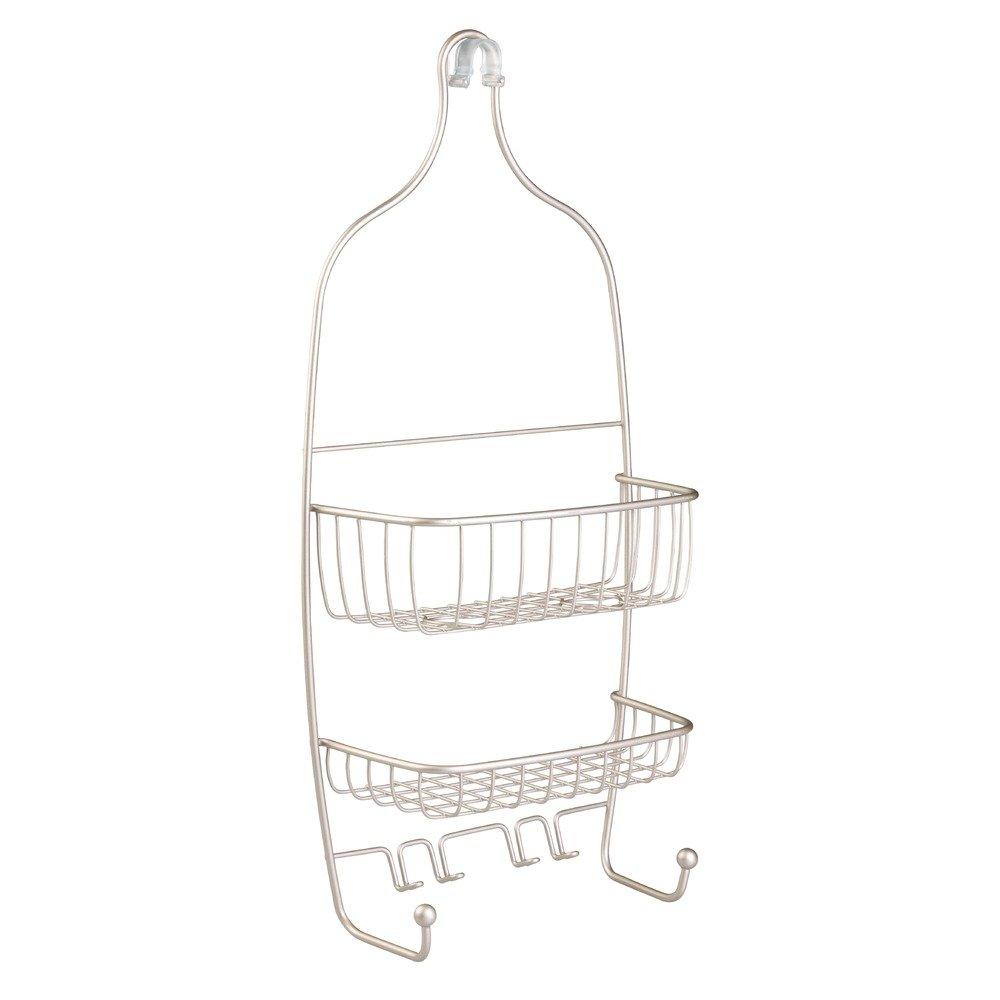 InterDesign Raphael Hanging Shower Caddy – Bathroom Storage Shelves for Tall Shampoo and Conditioner Bottles, Satin