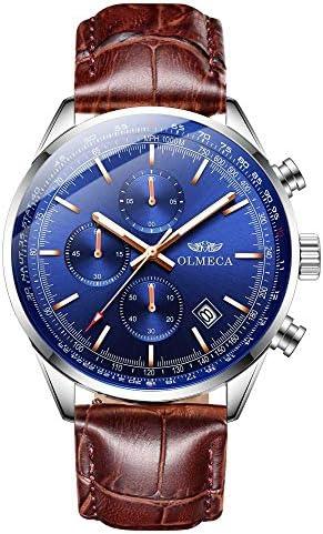 OLMECA Women s Watches Elegant Fashion Dress Sports Health Wristwatch Chronograph Date Luminous 5ATM Water Resistant Genuine Leather Band 3009-GLpd
