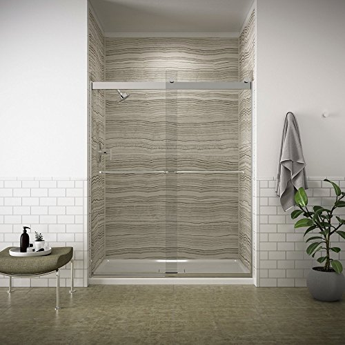 (KOHLER K-706015-L-SH Levity Bypass Shower Door with Towel Bar and 1/4-Inch Crystal Clear Glass in Bright Silver )