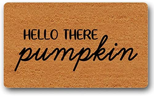 Hello There Pumpkin Doormat Fall Decor Welcome Mat Autumn Rug Entry Sign Funny Floor Mat Door Mat Non-Slip 30 by 18 Inch Machine Washable Indoor Outdoor