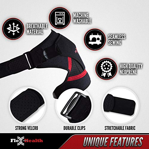 Support Shoulder Brace for Women and Men | 3-Size Shoulder Immobilizer Compression Sleeve to Protect Rotator Cuff + AC Joints | Prevent Injuries & Relieve Sprain Pain and Soreness Size M by Flex-Health (Image #3)