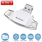 4in1 USB Flash Dirver for iPhone, Marceloant Card Reader Micro SD TF Card Readers for iPad Android Apple Mac, Card Reader Memory Card Camera Reader Adapter, Lightning Micro (White With 32GB TF Card)