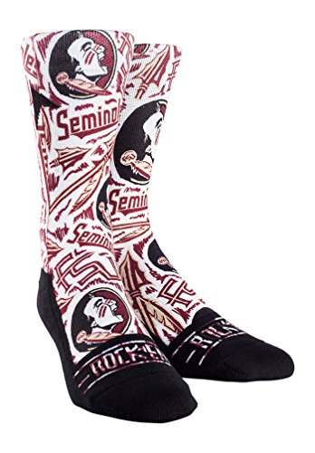 NCAA Florida State Seminoles Custom Athletic Crew Socks, Logo Sketch White, Youth - Athletic Logo Socks White