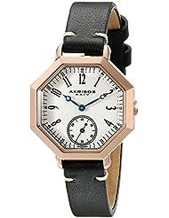 Akribos XXIV Womens AK771BKR Quartz Movement Watch with Silver Dial and Black Calfskin Leather Strap