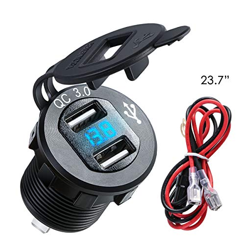 Dual USB Charger Socket Power Outlet with Digital Voltmeter QC 3.0 + 5v/1.5A Dual USB Port with LED Voltage Meter Display for 12V/24V Marine Car Motorcycle,Motorcycle Accessories