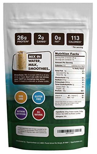 Coffee Protein Powder – Grass Fed Whey Isolate Colombian Coffee – Delicious Workout Exercise Supplement For Smoothie, Shake, or Drink – No Artificial Chemicals, Sweeteners, or Flavorings – 1 lb