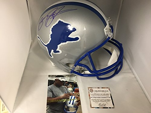 Barry Sanders Signed Autographed Lions Full Size Helmet Schwartz Sports Player Hologram & COA (Barry Sanders Autographs)