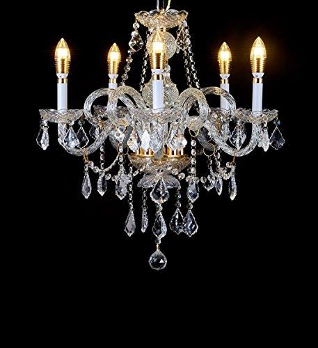 Top Lighting Crystal Chandelier Gold Finish 5-Light Pendant Ceiling Lighting