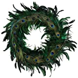 Zucker Feather Products ZUCKER Schlappen-Peacock Feather Christmas Wreath - Kelly/Natural - 24''