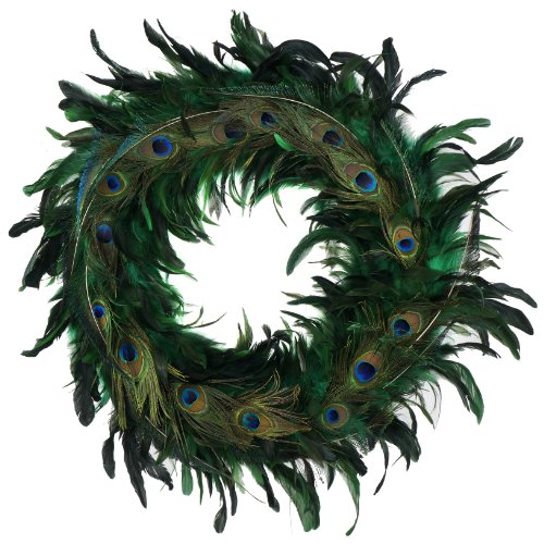 Zucker Feather Products ZUCKER Schlappen-Peacock Feather Christmas Wreath - Kelly/Natural - (Christmas Feather Wreath)