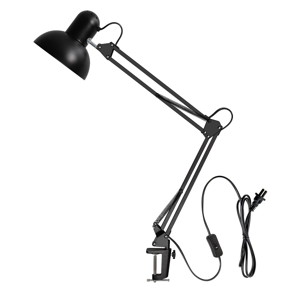 Carry360 Swing Arm Desk Lamp, Long Flexible Arm Desk Lamp Architect Table Lamp Table Clamp Mounted Light, Black Finish