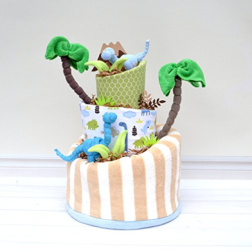 Diaper Cake for Dinosaur Baby Shower Decoration by Baby Blossom Company