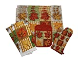 Autumn Leaves Kitchen Linen Set -Deluxe Tapestry - 4 Placemats, 2 Towels, 1 Potholder, and 1 Oven Mitt