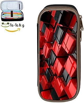 YTUC-102 - Estuche para bolígrafos 3D con cubos rojos y negros, gran capacidad, estuche de maquillaje para estudiantes con doble cremallera, cubos 3D rojos y negros: Amazon.es: Oficina y papelería