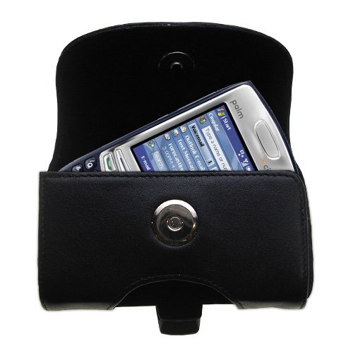 - Designer Gomadic Black Leather Palm Treo 750 Belt Carrying Case - Includes Optional Belt Loop and Removable Clip