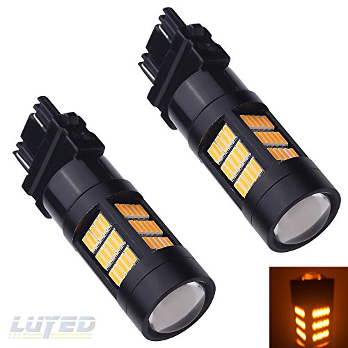 LUYED 2 X Extremely Bright 3157 4014 72-EX Chipsets 3056 3156 3057 3157 LED Bulbs Used for for Turn Signal,Black Metal Aluminum Dissipate Heat With Adjustable Lens,Amber