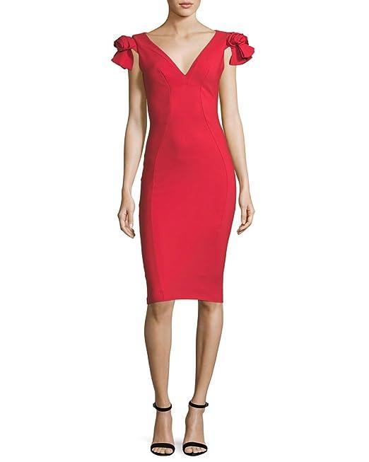 7d50a4772be5be Chiara Boni La Petite Robe Belvis Rosette Bodycon Cocktail Dress in Red (10)