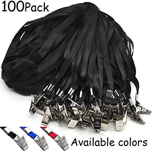 Black Lanyards 100 Pack Nylon Flat Badge Lanyard Bulldog Clip