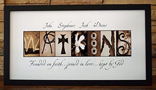 Faith, Love and God - Framed Photo Letter Art - Personalized Alphabet Photography - Custom Name ()