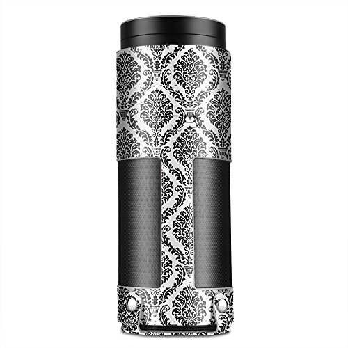 TNP Case for Amazon Echo Plus (Damask Black) - Premium PU Leather Cover Sleeve Skins Carrying Storage Travel Bag with Holding Strap & Carabiner Hook Protective Accessory for Echo Plus & 1st Gen Echo
