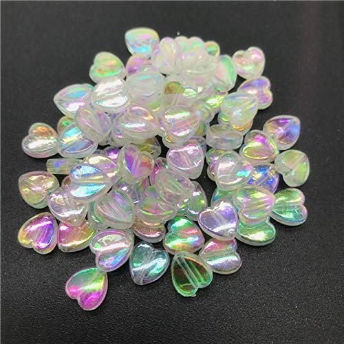 - Calvas 100pcs 8mm Acrylic Spacer Beads Heart-Shaped Charm Transparent Rainbow Color Beads for Jewelry Making DIY Jewelry Accessories - (Color: 01)