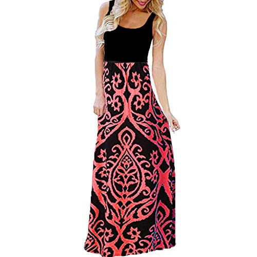 Womens Long Maxi Dress, Striped Straight Sleeveless Tank Party Floral Casual Summer Party Dress (S, Red 3)