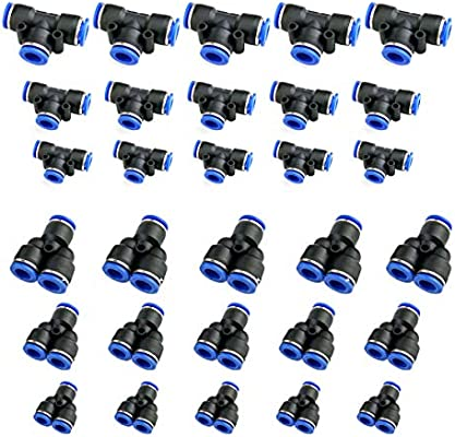 """5Pcs Push To Connect Fittings 8 mm or 5//16/"""" od Tube Fittings Blue"""