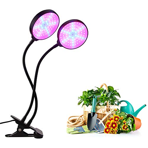 Plant Lights for Indoor Plants, SOAI Led Greenhouse lamp Timing Full Spectrum Waterproof Growing Light for Seedlings, Organic, Succulents 5 Dimmable Adjustable 30W (Round)