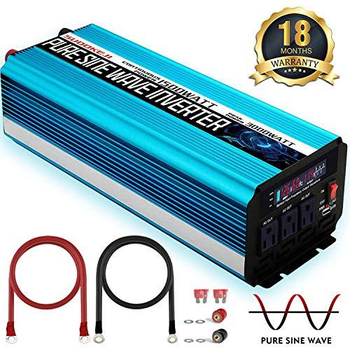 - SUDOKEJI 1500W Pure Sine Wave Power Inverter Peak Power 3000W 12V DC to 110V 120V AC with LED Display 3 AC Outlets & USB Port for RV Truck Boat, 18 Months Warranty