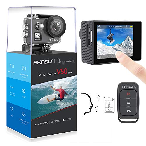 AKASO V50 Elite 4K60fps Touch Screen WiFi Action Camera Voice Control EIS 131 feet Waterproof Camera Adjustable View Angle 8X Zoom Remote Control Sports Camera with Helmet Accessories Kit from AKASO