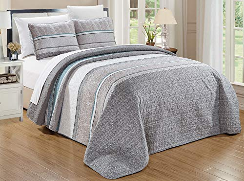 """GrandLinen 3-Piece Fine Printed Oversize (100"""" X 95"""") Quilt Set Reversible Bedspread Coverlet Queen Size Bed Cover (Grey, Teal Blue, White, Stripe)"""
