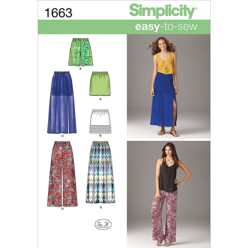 Simplicity Easy-to-Sew Pattern 1663 Misses Pull-On Skirts and Pants or Shorts Sizes 12-14-16-18-20 by Simplicity Creative Group