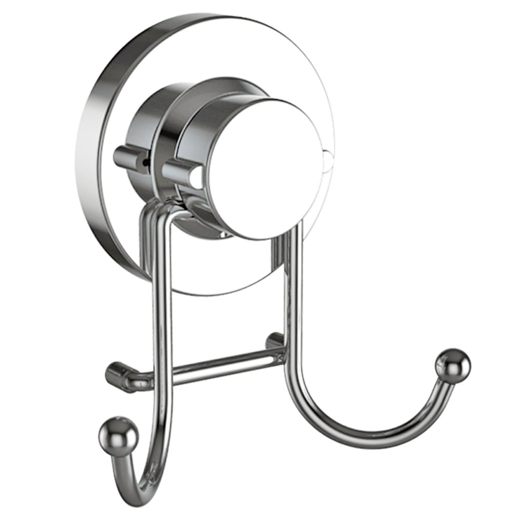 HOME SO Towel Hook Suction Cup Holder - Bathroom, Shower & Kitchen Storage Organizer Hanger Bath Robe, Towel, Coat, Loofah - Stainless Steel, Chrome (2 pack) DH2