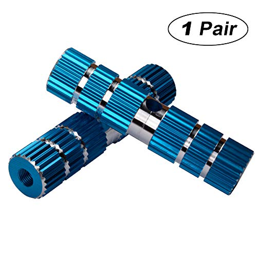 2Pcs Strong Aluminum Alloy Axle Foot Pegs Stunt Pedal for BMX Mountain Bike Bicycle Cycling (Blue)