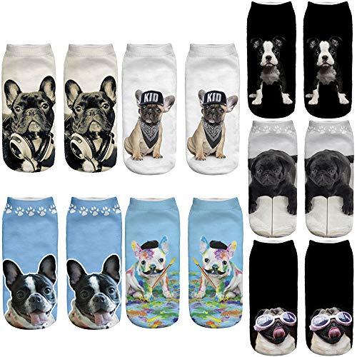 Angelteers Unisex's Pug Ankle Socks Novelty 3D Funny Dog Low Cut Boat Socks (Pugs & French Bulldog, 7)