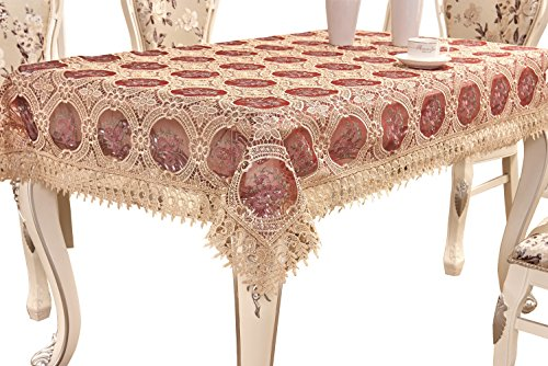 Oblong Lace Tablecloth (Adasmile Handmade Lace Fabric Crocheted Patterns Tablecloth/Table Cover with Red Flowers for Rectangle Tables for Party,Wedding,Gold,60