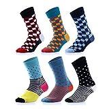 Facyteck Men's Dress Socks, Colorful Patterned Cotton Crew Socks 6 Pack (US M 7-10 6 Pack)
