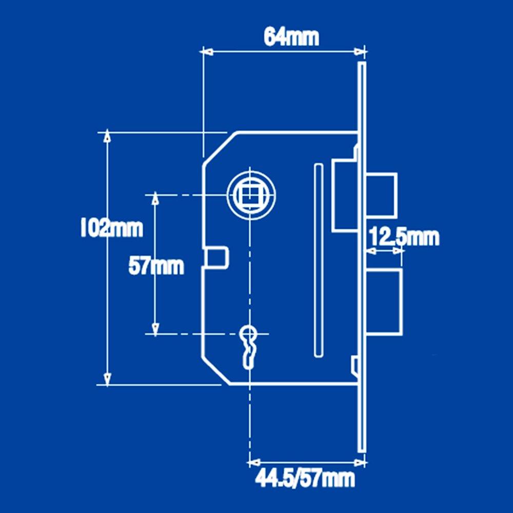 CHROME 2//2,5-12 2 LEVIERS DE TYPE YALE SERRURE DE CH/ÂSSIS /À MORTAISE ET VERROU 2 CL/ÉS ET VIS DE FIXATION INCLUS 64 MM