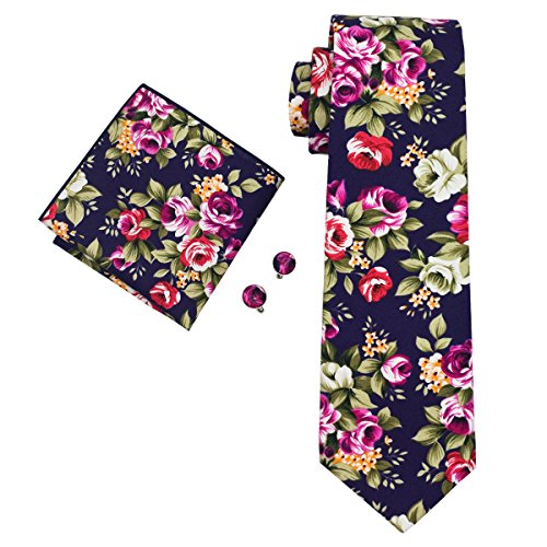 Flowers New Necktie - DiBanGu Cotton Tie Flower Men's Necktie Handkerchief Navy Tie Cufflinks Set