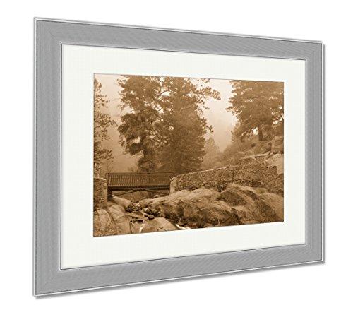 Ashley Framed Prints Helen Hunt Falls, Wall Art Home Decoration, Sepia, 34x40 (frame size), Silver Frame, (Hunt Framed)