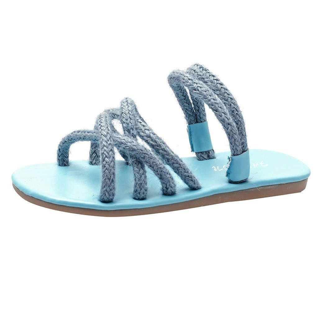 cceb5df56c9c7 Beach Slippers For Women AHAYAKU Rope Band Sandals Flat Fisherman ...