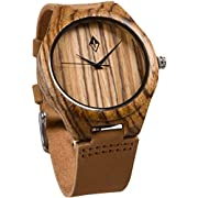 Amazon Lightning Deal 84% claimed: Wood Grain Handmade Mens Zebra Wood Natural Wooden Watch with Genuine Brown Leather Band