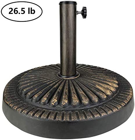 ALLADINBOX 18 26.5 lbs Outdoor Living Heavy Duty Round Antiqued Patio Umbrella Base,Bronze