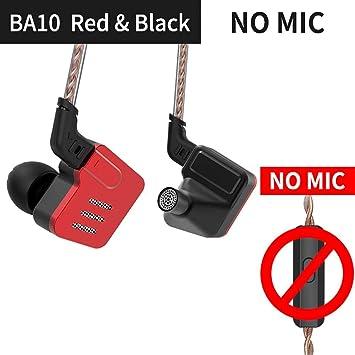 KZ BA10 Auriculares de Control Remoto bajo Profundo HiFi Auriculares de Hierro móvil Metal Auriculares de