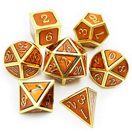 Haxtec 7PCS Metal DND Dice Set D&D Dice for Dungeons and Dragons Games-Glossy Enamel Dice (Gold Smoky Cocoa)